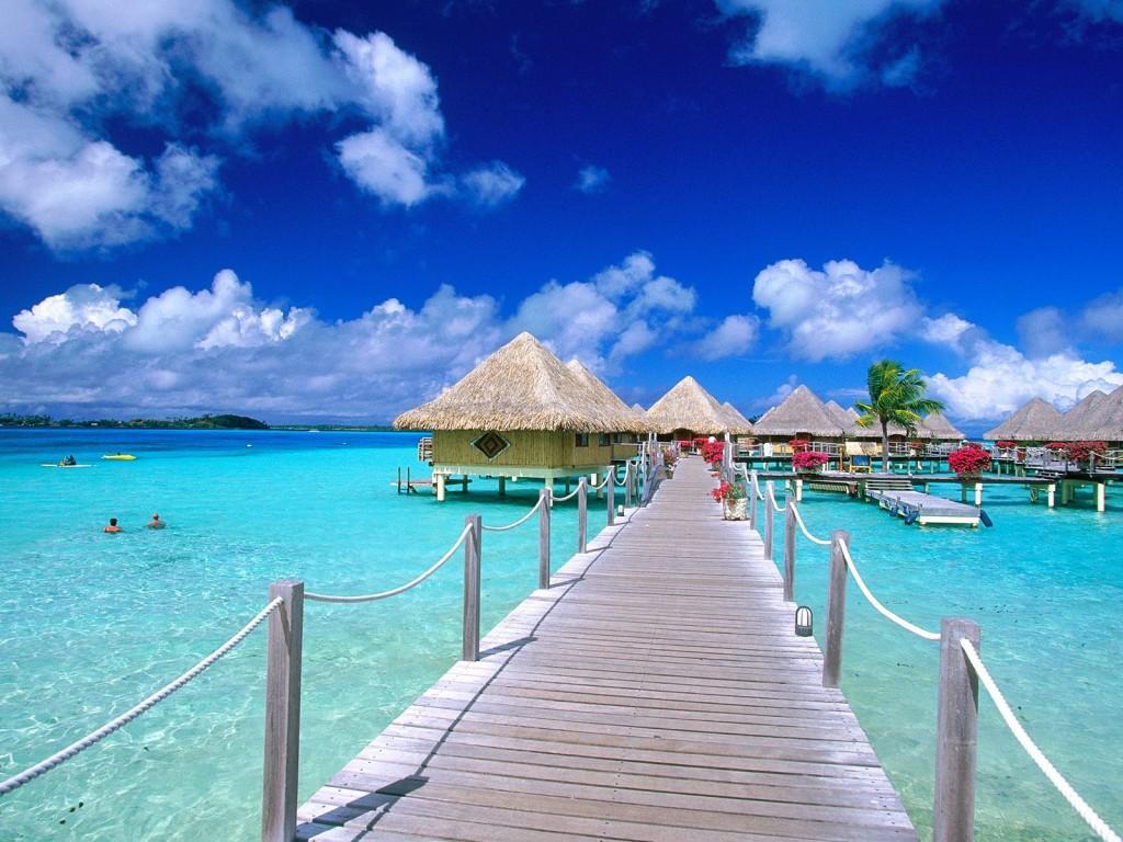 Bora bora French Polynesia On-water walk paths